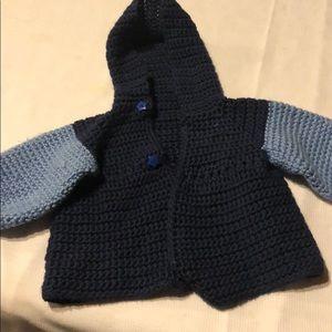 Baby boys hand made crochet jacket